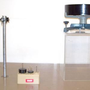 For a larger demonstration use the Cenco Apparatus set up as in Picture 3.   A stop watch or a photogate may be used to collect the data.  The disk and the ring in this apparatus have approximately the same mass ( about 4.7 kg ).
