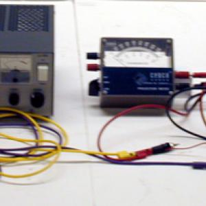 The thermometer no longer works with a thermocouple so a DC power supply and variable pot are used.