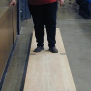 Unfold the 16 foot platform in the lecture room.  Get on the platform at one end and start walking toward the other end.  The platform should move in the opposite direction while you remain relatively in one place.